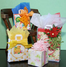 picture of miniature gifts with bows